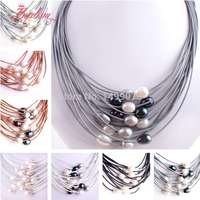 SALE FREE SHIPPING FASHION STYLE 15ROW 10 12MM NATURAL CULTURED OVAL FRESHWATER PEARL LEATHER NECKLACE 16