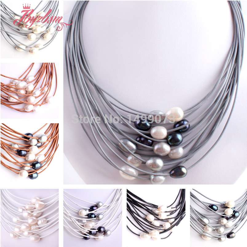 "10-12mm Natural Oval Freshwater Pearl Gem Stone Beads Handwork 15 Row Leather Fashion Necklace 16""-22""Magnet Clasp Free Shapping"