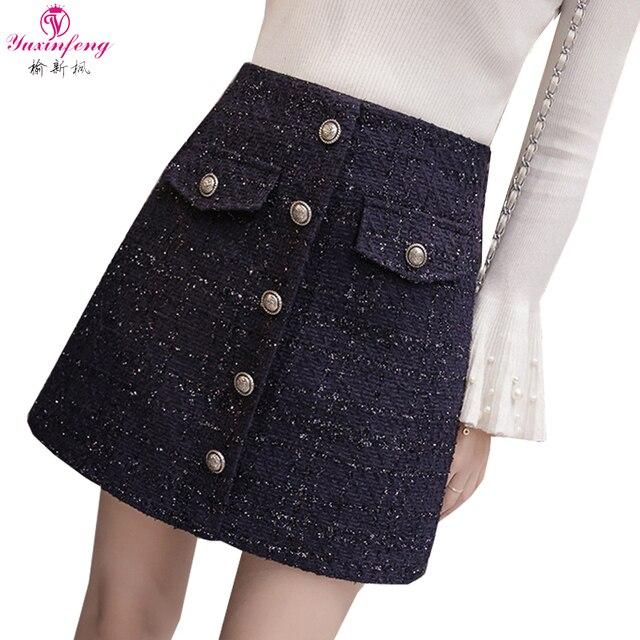 96be1d7ad89 Yuxinfeng Woolen Tweed Skirt A Line Elegant Buttons Women High Waist Skirt  Mini Solid Fake Pockets Womens Skirts Female Black