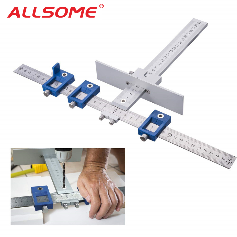 ALLSOME Aluminum Alloy Drill Guide Sleeve Cabinet Hardware Jig Drawer Pull Wood Drilling Dowelling Tools Set