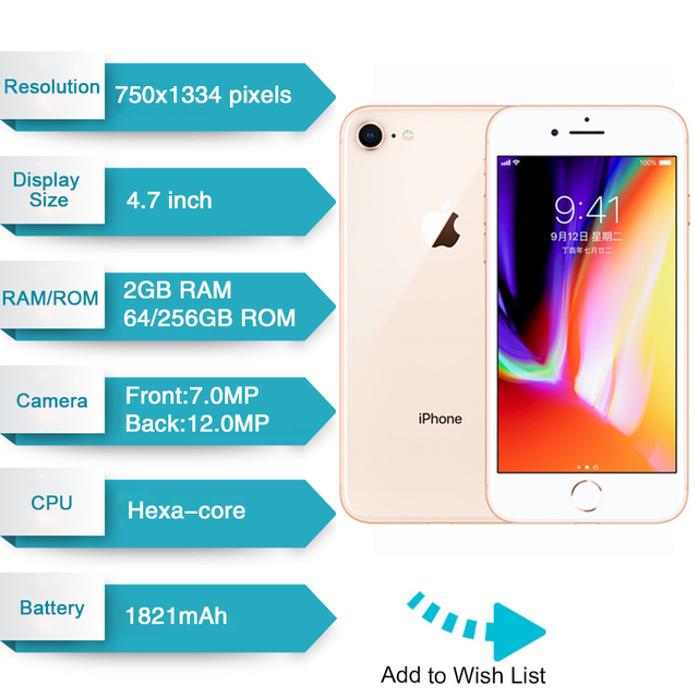 "Original Apple iPhone 8 1821mAh 2GB RAM 64GB/256GB LTE 12.0MP Camera 4.7"" inch Apple Fingerprint Hexa-core  IOS 3D Touch ID 4"