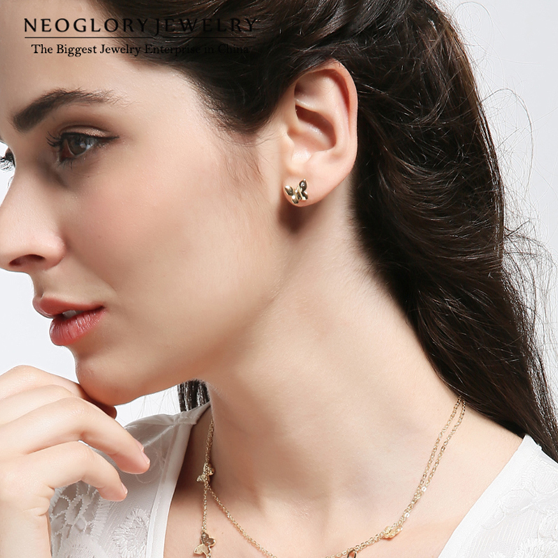 Neoglory Light Yellow Gold Color Austriac Fashion Fluture Cercei Teen - Bijuterii de moda - Fotografie 3