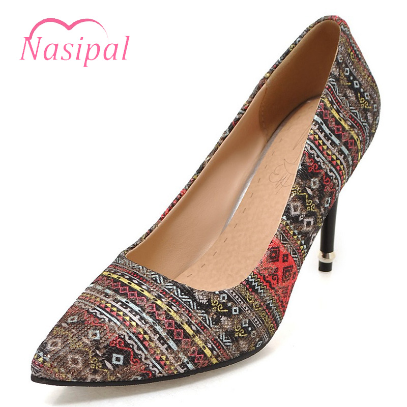 Nasipal Women Pumps Thin High Heels Pointed Toe Shallow Ethnic style Shoes Woman Dress Shoes Zapatos Mujer tacon Large Size C670 zapatos mujer pointed toe thin high heels sandals mixed color single shoes woman stiletto dress women pumps 2018