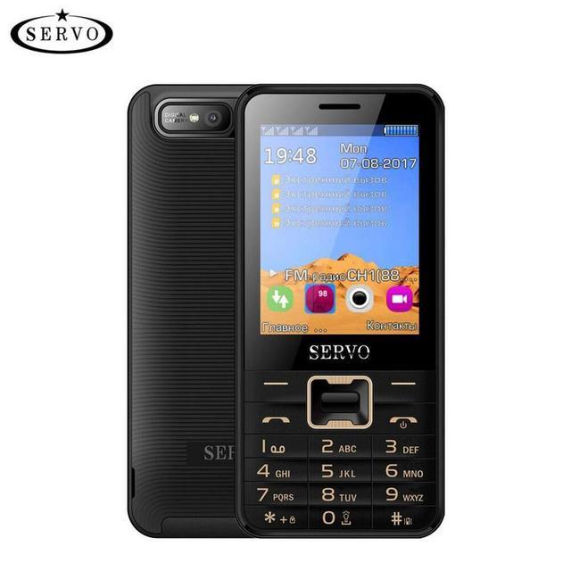 bba359c1ab1 Original Servo V8100 2.8 inch Mobile Phone 4 SIM cards cell phones  Bluetooth Flashlight MP3 GPRS Russian Language keyboard