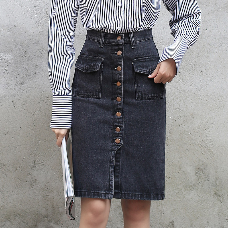 Yichaoyiliang 2017 Fashion High Waist Black Denim Skirt Front Slit Buttons Closure Pockets Sexy Body Con Girls Jeans Skirt