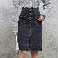 Yichaoyiliang 2017 Fashion High Waist Black Denim Skirt Front Slit Buttons Closure Pockets Sexy Body Con