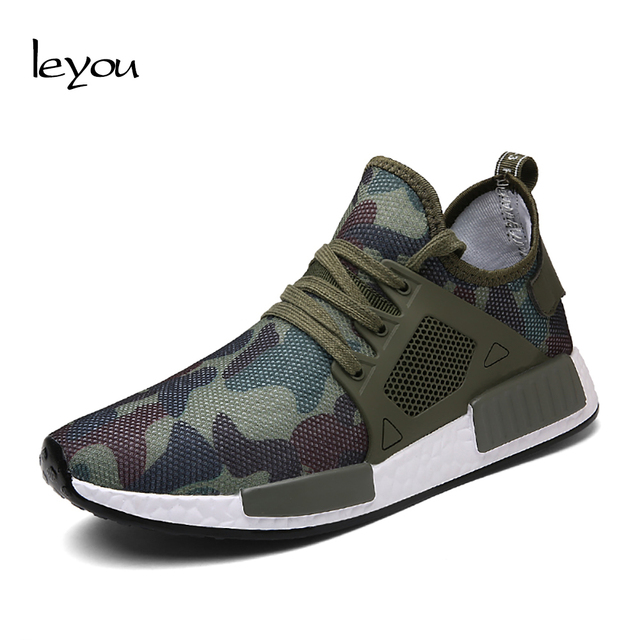 Leyou Outdoor Puls Size Camouflage Shoes Mens Trainers Brand Casual Shoes Men Walking Light Shoes Laces Men Flats Sneakers