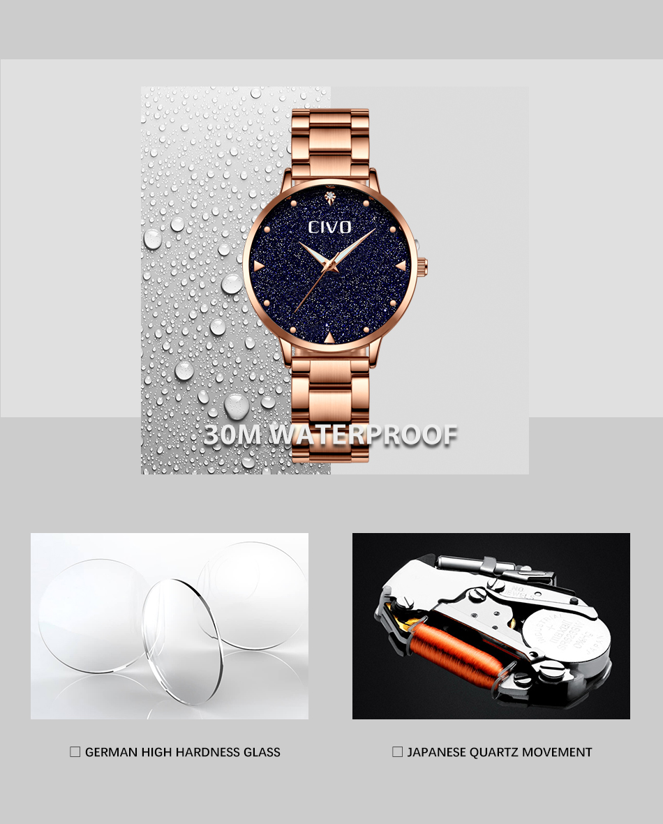 CIVO Relógio Criativo Aço Inoxidável Ladies Watch