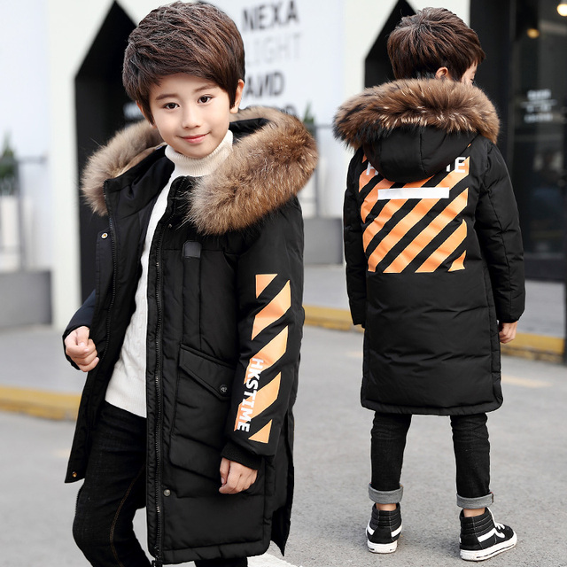 684466b63243 Winter Clothes for Boys Fur Hooded Duck Down Jackets Teenage Boys ...