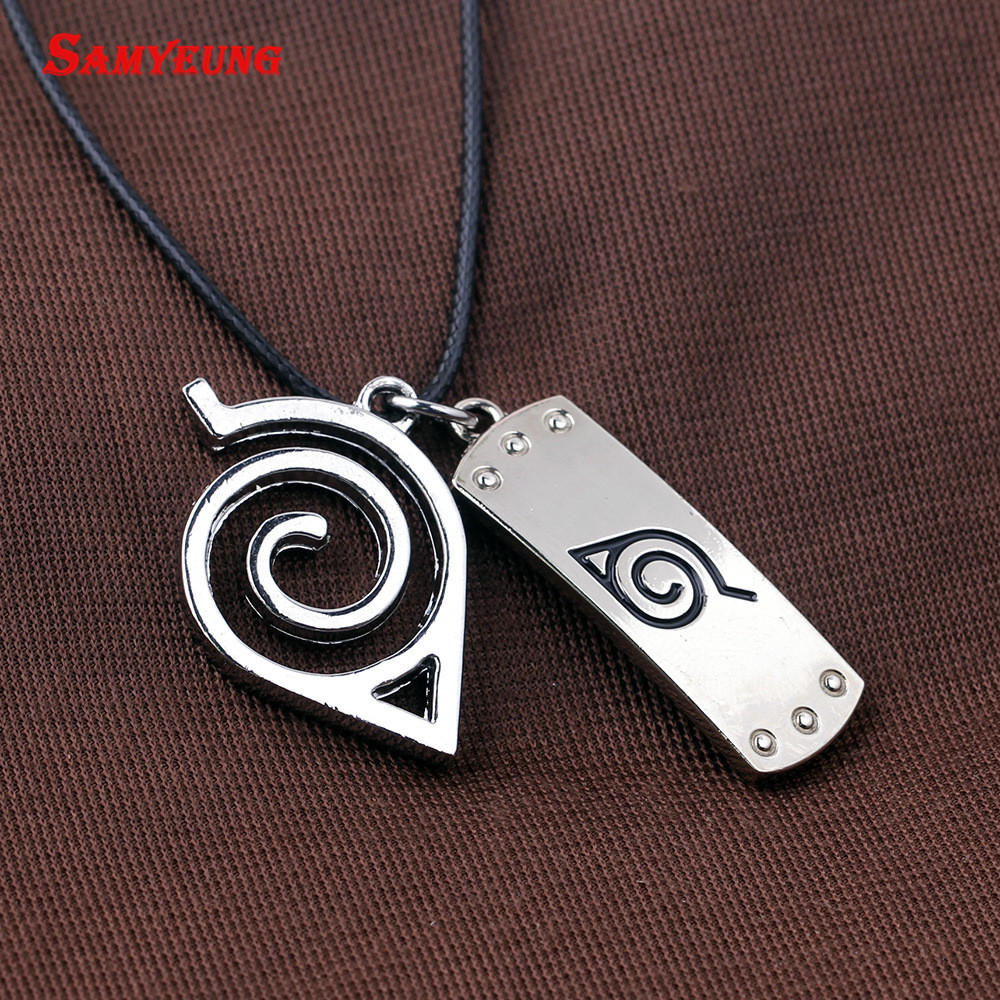 Samyeung 10Pcs font b Anime b font Naruto Leather Chain Necklaces Homme Cosplay Naruto Kakashi Necklace