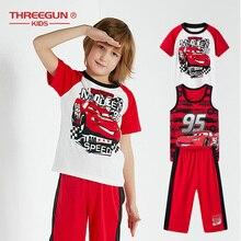 THREEGUN X דיסני מכוניות בני ילדים פיג מות סט 3 חתיכה להגדיר פעוט בני פיג מה כותנה הלבשת נער קריקטורה Loungewear