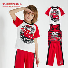 THREEGUN X Disney Cars Boys Kids Pajama Set 3-Piece Set Toddler Boys Pajamas Cotton Sleepwear Teenager Cartoon Loungewear(China)
