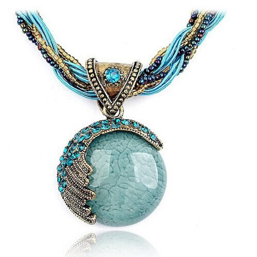 Aimecor Bohemian Jewelry Statement Necklaces Women Rhinestone Gem Pendant Collar