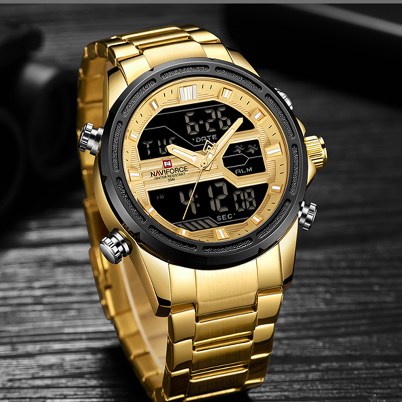 Naviforce Sport Cool MENS Watch LED Analog Digital Military mens Watch Steel Stainless Quartz Male Fashion  Clock relogios 9138|Quartz Watches| |  - title=