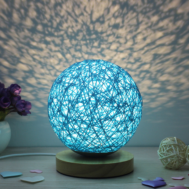 Bedroom Bedside Lamp Creative Hand Knitted Decorative Table Lamp Night Lamp Pastoral Natural Cane Bulbs Ball Lampara De Mesa