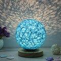 Schlafzimmer Nacht Lampe Kreative Hand Gestrickte Dekorative Tisch Lampe Nacht Lampe Pastoralen Natur Cane Lampen Ball Lampara De Mesa