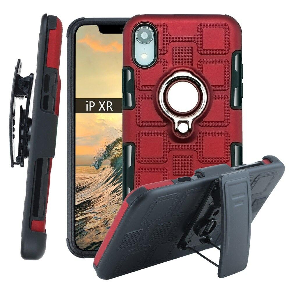 Бронированный чехол для телефона для защиты четырех углов, противоударный чехол для iPhone XR XS MAX 6 7 8 plus, задняя крышка из ТПУ с подставкой, оболочка-in Полуобернутый чехлы from Мобильные телефоны и телекоммуникации