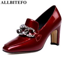 ALLBITEFO genuine leather women heels shoes fashion sexy rhinestone thick heel spring women pumps girls high heel shoes woman цена в Москве и Питере