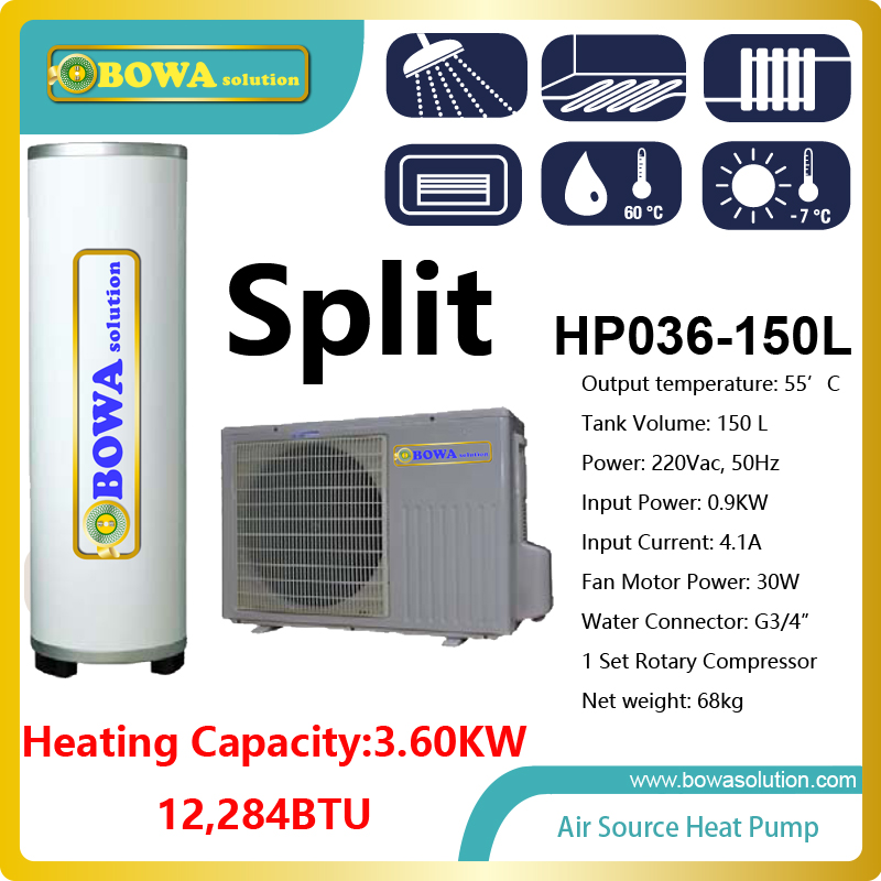 3.6KW air source split type heat pump water heater with 150L stainless steel tank suitable for townhouse mj db20 g3 4 cooper material with high accuracy water flow sensor for splar water heater heat pump and chiller flow switch