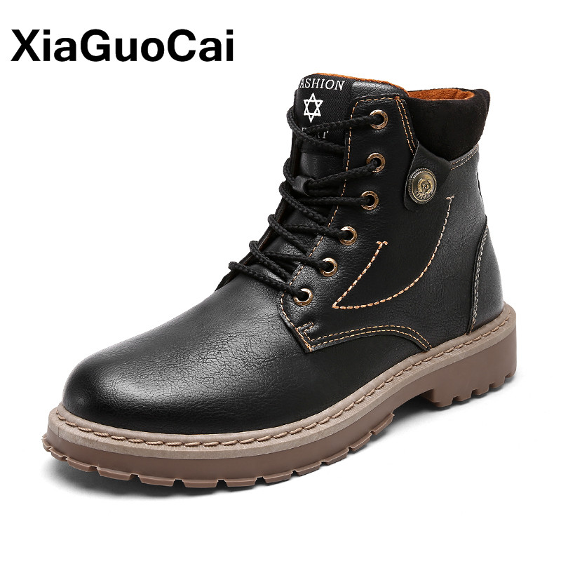 Classic Men Ankle Boots PU Leather High Top Autumn Winter Male Work Shoes Lace Up Tooling Boots High Quality Dropshipping цена