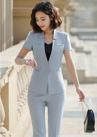 2019 Summer Formal Professional Business Women Suits With Jackets And Pants Female Trousers Sets Summer Blazers Outfits Gray
