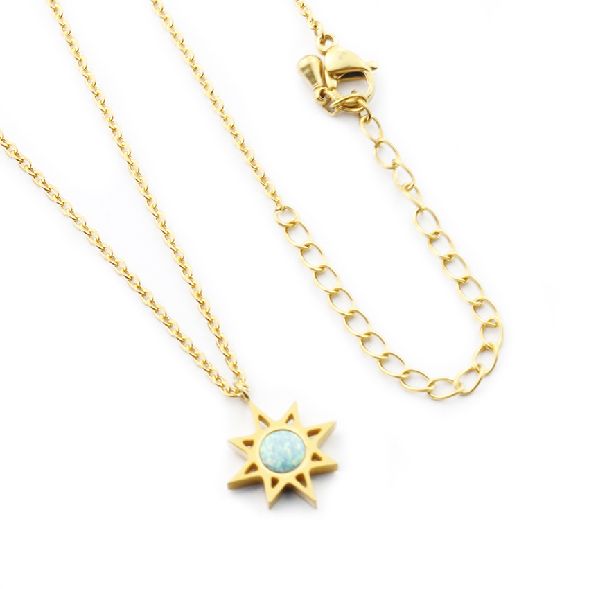 Fashion North Star With Blue Fire Opal Stone Necklace For Women Men - Fashion Jewelry - Photo 6