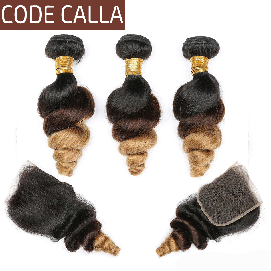 Code Calla Ombre Color Loose Wave Bundles With 4*4 Lace Closure Indian Raw Virgin Brown Color Human Hair Bundles With Closure