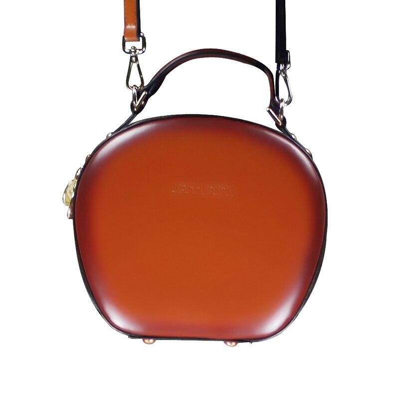 100% Guarantee Original Designer Double Zipper Cowhidegenuine Leather Solid Color Handbag Box Shape Round Shoulder Small Bag