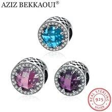 AZIZ BEKKAOUI Cielo Azul Cristal y Radiante Clara Cuentas de Plata Esterlina Encantos Fit Pandora Pulsera y Collar Para Las Mujeres joyería