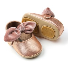 Sequins Baby Girl Bow-knot Soft Sole Shoes Anti-slip Shoes Princess First Walkers 0-18M