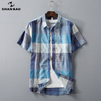 SHANBAO Brand Comfortable Thin Cotton Linen Men's Summer Fashion Casual Plaid Short Sleeve Shirt 2019 New High Quality Shirt
