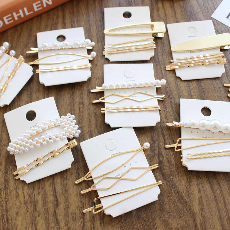 3pcs/set Minimalist Dainty Pearl Marquise Triangle Rhombus Infinity Gold Geometric Hairpin Hair Clip Clamps Accessories D2735