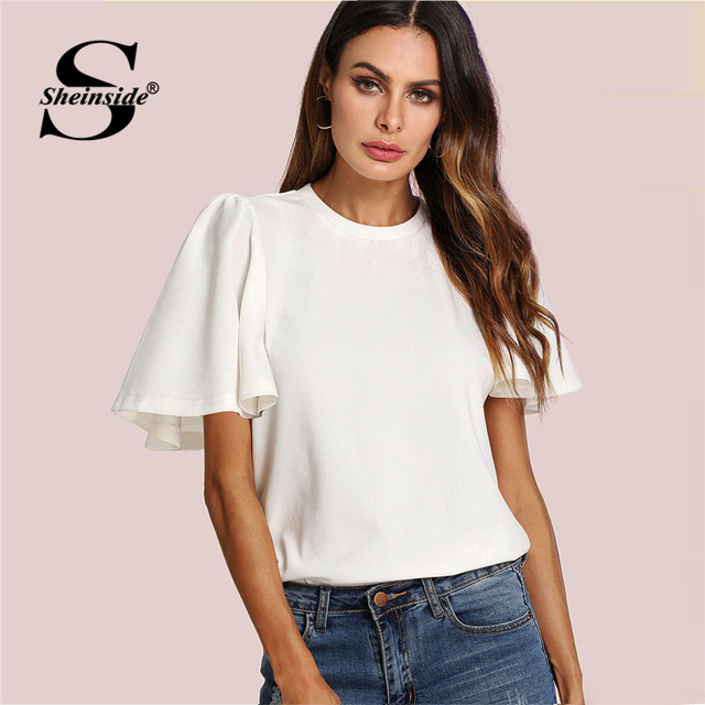 67c57876d02b Sheinside Flutter Sleeve Zip Back Top 2018 New Summer Short Sleeve Round  Neck Blouses Women Plain White Elegant Blouse