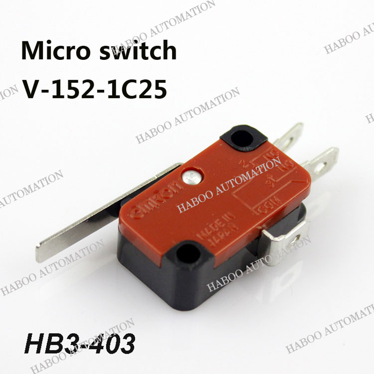 10PCS/lot HABOO micro switch 16A 250V V-152-1C25 momentary reset switch elevator limit switch1NO+1NC shipping free