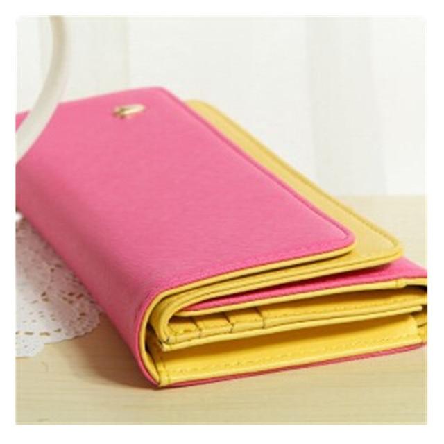 Fashion PU Women Wallet Durable Fuchsia Hit Color Multi-Function Credit Card Ticket ID Card Cash Holder Casual Organizer Bag