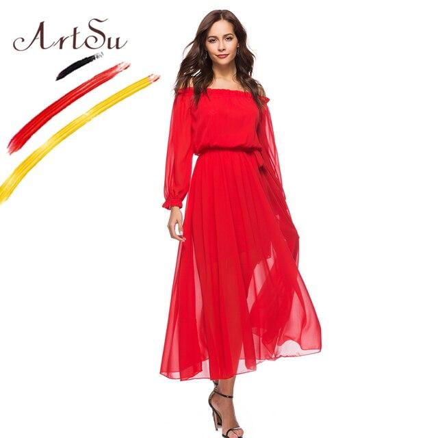 7e618f951a9f ArtSu Fashion Red Color Off Shoulder Chiffon Sundress 2018 Girls Long Sleeve  Lace Up Summer Maxi