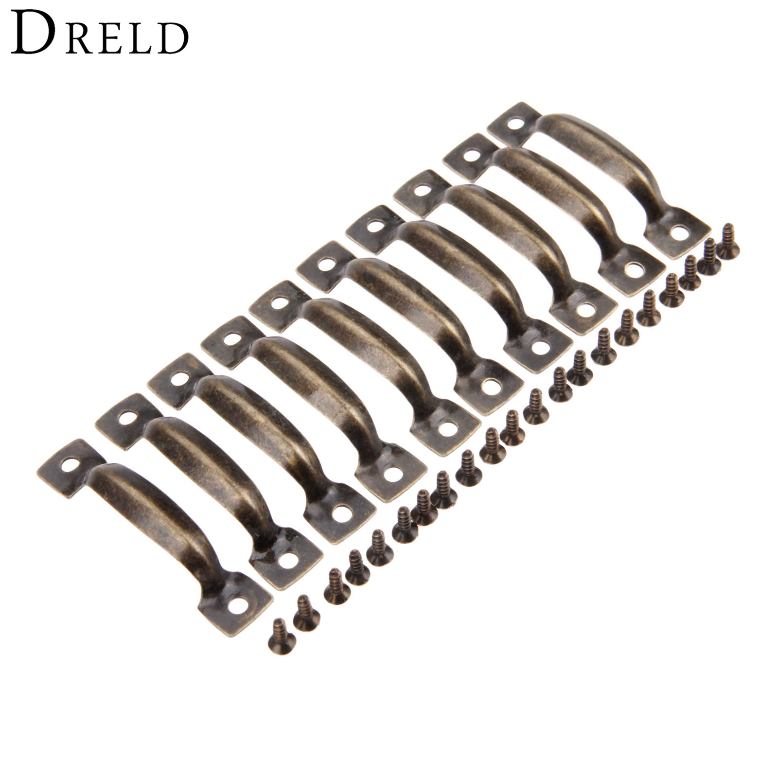 DRELD 10Pcs Antique Furniture Handles Cabinet Knobs and Handles Cupboard Drawer Kitchen Pull Handle Furniture Hardware 52*11mmDRELD 10Pcs Antique Furniture Handles Cabinet Knobs and Handles Cupboard Drawer Kitchen Pull Handle Furniture Hardware 52*11mm