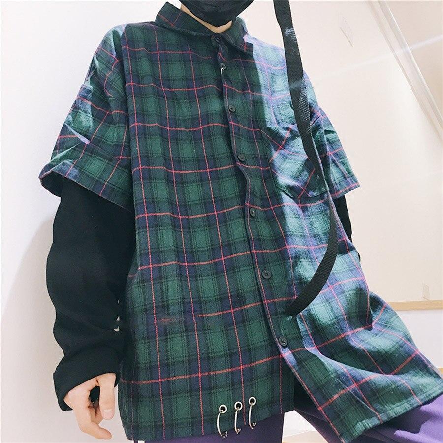 Vintage Shirt Männer Langarm Casual Plaid Rot Karierten Koreanische Mode Hemd Desinger Lange Hip Hop Blusen Rave Kleidung 7C020