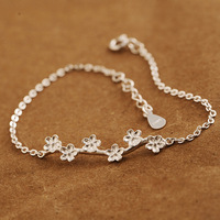 925 Sterling Silver bracelets Flowers Korean Simple Girl Bracelet for Women Fashion Gifts