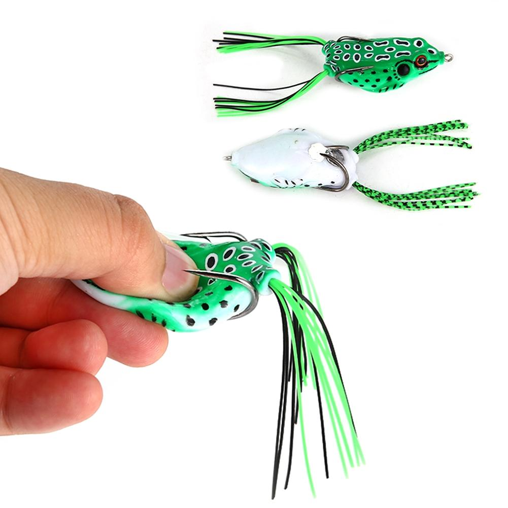 LumiParty 5 PCs Top Water Soft Bait Hollow Frog Fishing Lures Spoon Lures Crankbaits for Bass Snakehead in Saltwater, Freshwater