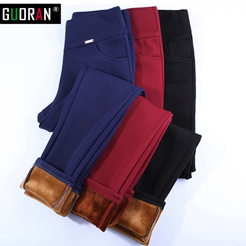 Women Plus Size Thick Velvet Warm Pants Slim Stretch Fleece Pencil Pants High Waist Winter Trousers Female Pantalones Mujer