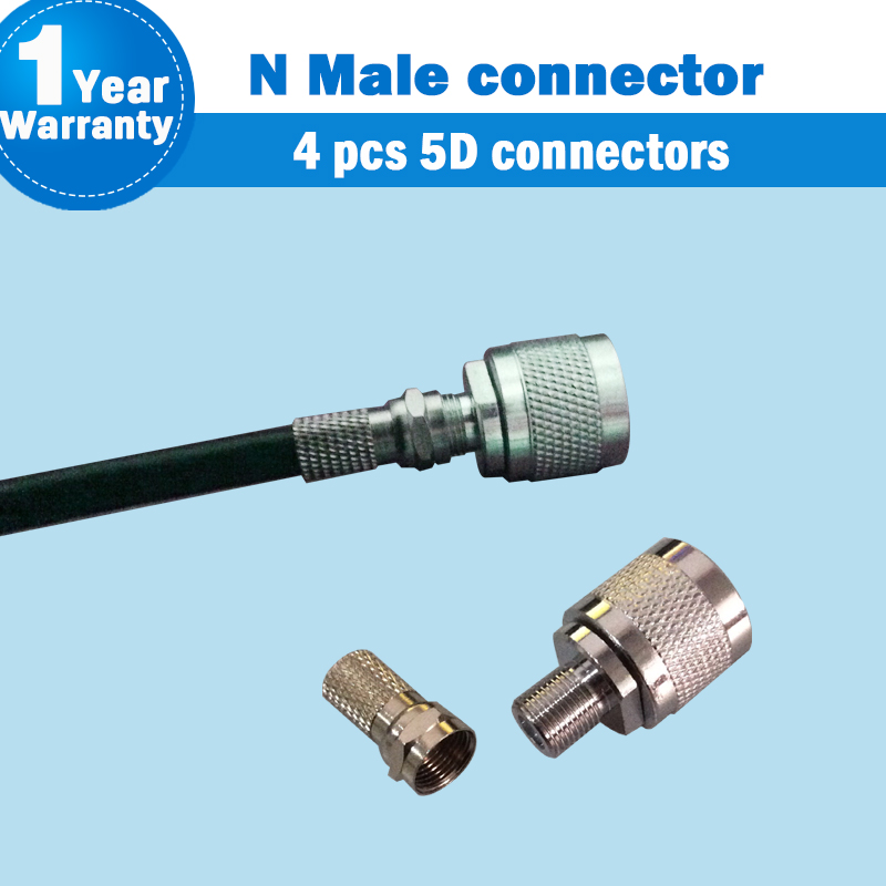 N Male Type RG6 Connector For Coaxial Cable For Mobile Phone Signal Booster Repeater Amplifier NJ-FK + FJ-5D Connector S50