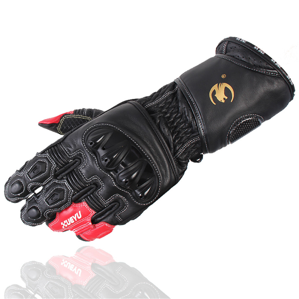 Genuine Leather Professional Motorcycle Gloves Moto luvas para guantes CHMTO-017 motocross Off Road racing Long Gloves GP team