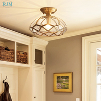 American Creative Simple Copper Ceiling Lamp Glass Lamp Shade Pendant Light for Living Room Corridor Aisles Study Rooms Lighting