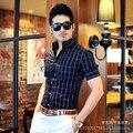 Новый Мужчины Рубашка 2014 Мода Плед С Короткими Рукавами Мужские Рубашки Slim Fit Корейский Утюг Бизнес-Мужская Одежда Бесплатная Доставка