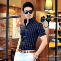 New Men Shirt 2014 Fashion Plaid Short-Sleeved Male Shirt Slim Fit Korean Iron Business Men Clothes Free Shipping
