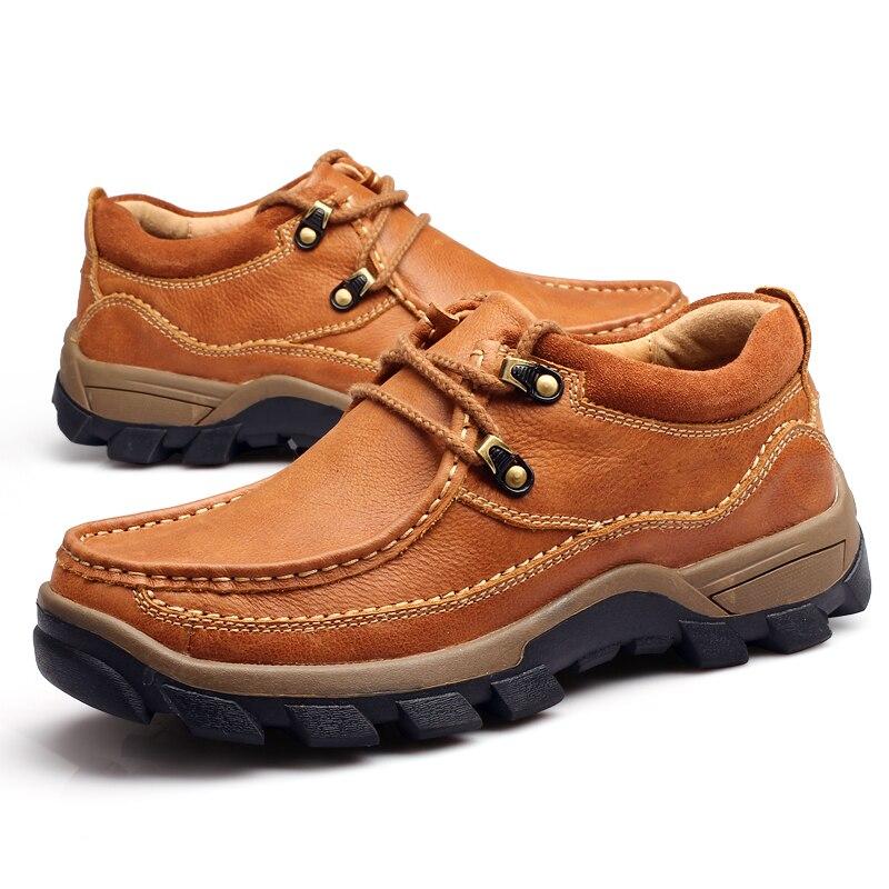 Chaussures pour hommes en cuir véritable 2017 automne hiver décontracté chaussures de travail imperméables en plein air chaussures en caoutchouc chaussures à lacets Oxfords chaussure homme - 3