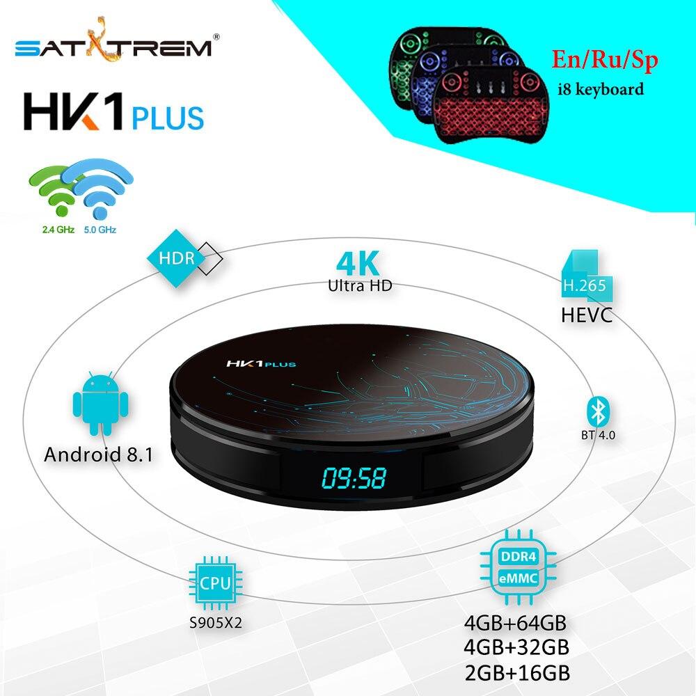 Boîtier TV intelligent HK1 PLUS Android 8.1 Amlogic S905X2 4 GB DDR4 64 GB ROM HDMI2.1 2.4G/5.8G WIFI 4 K H.265 IPTV boîtier avec souris Air MX3