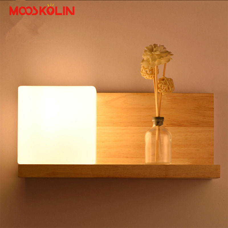 Free Shipping Modern Oak Wood Wall Lamp Lights For Bedroom Bedside Study room Home Lighting Wall Sconce solid wooden Wall light free shipping 220v high quality modern acrylic lights creative wall lamp fit to install the new listing study bedroom aisle