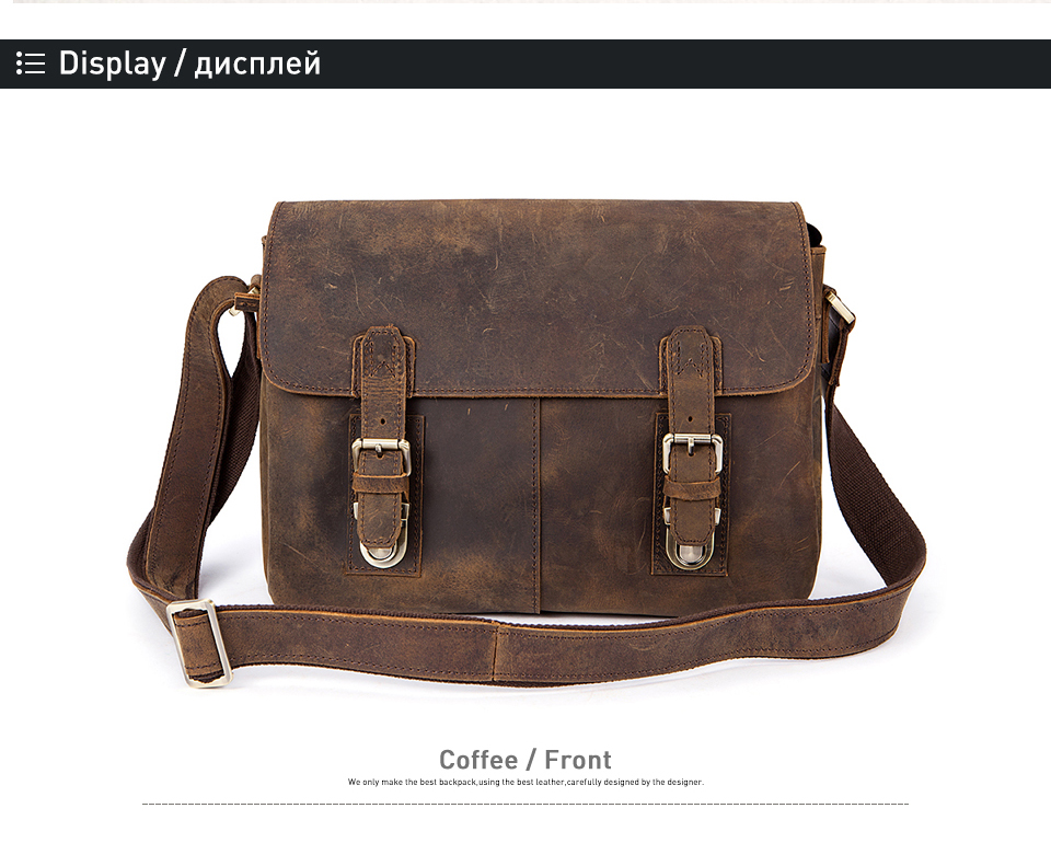 b2ff451ed7b1 Men Briefcase Genuine Leather Bag Crazy Horse Documents Office Bags ...